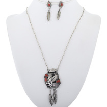 Vintage Coral Silver Eagle Ladies Link Necklace With Dangle Earrings 34065