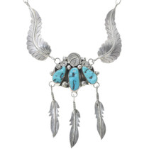 Vintage Turquoise Feather Necklace 34067
