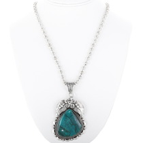Turquoise Silver Pendant With Necklace 28671
