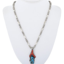 Turquoise Coral Pendant Necklace on Bench Bead and Melon Bead Strand 34069