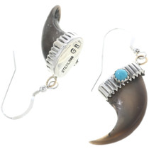 Navajo Bear Claw Turquoise Earrings 34071