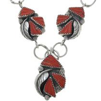 Coral Silver Ladies Y Necklace 34073