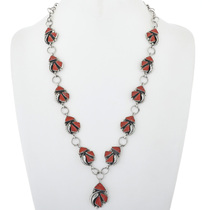 Vintage Coral Silver Ladies Y Necklace 34073