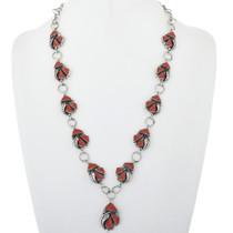 Vintage Coral Silver Ladies Y Necklace 34073