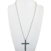Old Pawn Turquoise Cross Pendant Handmade With Sterling Link Chain 34075