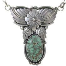 Vintage Turquoise Silver Necklace 34076