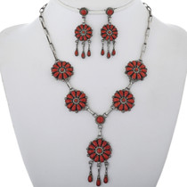 Vintage Coral Cluster Silver Necklace Set With Post Dangle Earrings 34078