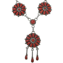 Vintage Coral Cluster Silver Necklace 34078