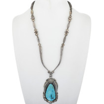 Large Vintage Turquoise Silver Pendant Necklace 34079