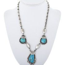 Turquoise Silver Necklace with Birdseye Kingman stones 34080