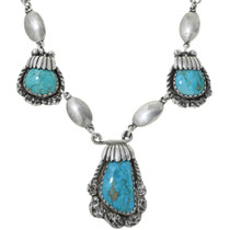 Old Pawn Turquoise Silver Necklace 34080