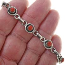 Vintage Coral Silver Link Bracelet 34081