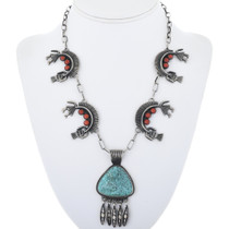 Vintage Turquoise Coral Silver Necklace 34082