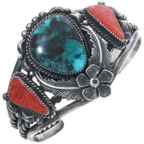 Turquoise Coral Silver Cuff Bracelet 28639
