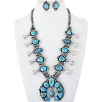 Navajo Turquoise Squash Blossom Necklace Set 34089