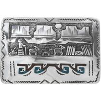 Navajo Silver Overlay Belt Buckle  34096