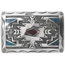 Navajo Inlaid Silver Belt Buckle 34097