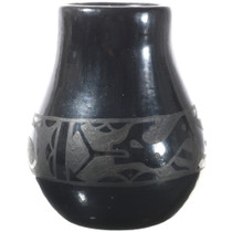 Vintage Santa Clara Blackware Jar Water Serpent Pottery