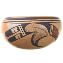 Vintage Hopi Polychrome Pottery Bowl Pueblo Rainbirds Pattern