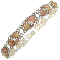 Vintage Black Hills 12K Gold Link Bracelet Ladies Tennis Style