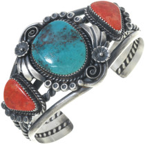 Kings Manassa Turquoise Coral Silver Cuff Navajo Antiqued Bracelet