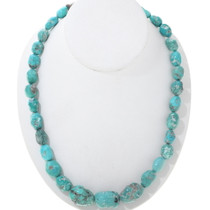 Genuine Green Turquoise Nugget Necklace 34112