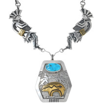 Sleeping Beauty Turquoise Bear Design Gold Necklace 34127