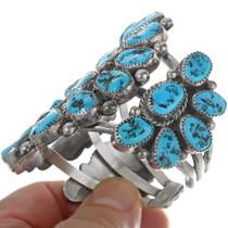 Turquoise Sterling Silver Navajo Cluster Bracelet 34131