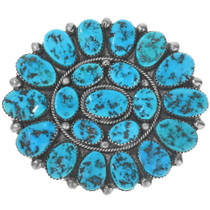 Old Pawn Turquoise Custer Brooch Pin 34135