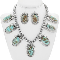 Number 8 Turquoise Necklace Set with French Hook Earrings 29879