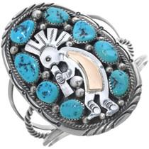 Vintage Navajo Turquoise Gold Silver Kokopelli Bracelet 34141