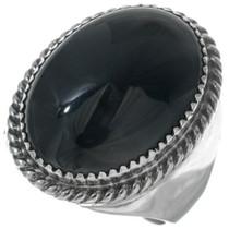 Navajo Black Onyx Silver Mens Ring 34146