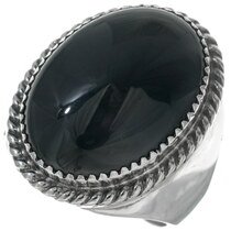 Navajo Black Onyx Silver Mens Ring 34146