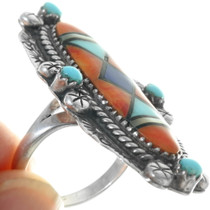 Colorful Turquoise Inlay Sterling Silver Ring 34149