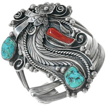Old Pawn Turquoise Coral Ladies Bracelet 34151