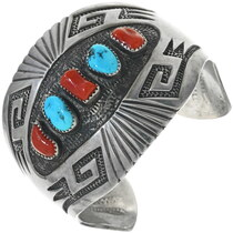 Vintage Turquoise Coral Silver Bracelet 34153