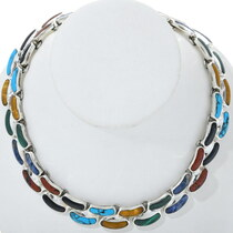 Vintage Inlaid Multi Gemstone Necklace 34157
