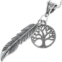Sterling Silver Feather Pendant 34169