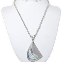 Unique Curved Silver Opal Navajo Pendant 34187