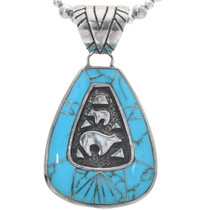 Vintage Navajo Turquoise Silver Bear Pendant 34188