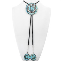 Sterling Silver Turquoise Cluster Bolo Tie 34190
