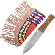 Stainless Steel Knife With Beaded Sheath 34207