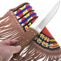 Beaded Leather Sheath Double Edge Knife 34207