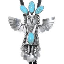 Navajo Turquoise Kachina Bolo Tie 34237