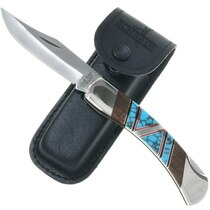 Navajo Inlaid Turquoise Schrade Knife 34242