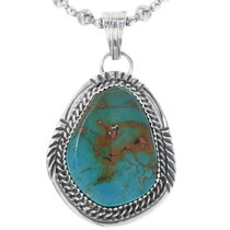 Navajo Turquoise Silver Pendant 34244