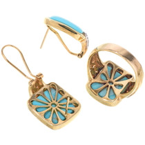 Turquoise Gold Ring Earrings Set 34264