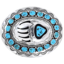 Vintage Turquoise Bear Paw Belt Buckle 34265
