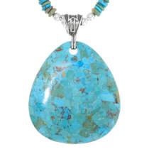 Turquoise Heishi Bead Turquoise Pendant Necklace 34275