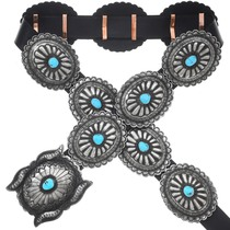 Navajo Turquoise Silver Concho Belt 29646